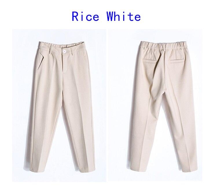 19 Autumn New Women Elastic Woolen Pant Female Plus Size Casual Trousers Black/Gray Harem Pants Winter Wool Ankle-Length Pants 39