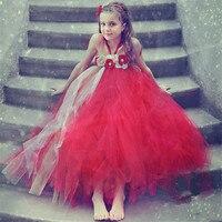 Fishion Śliczne Dziewczyny Tutu Sukienka Czerwony Złoty Kwiat Dziewczyny Suknie z Kwiat Opaska Perły Na Boże Narodzenie