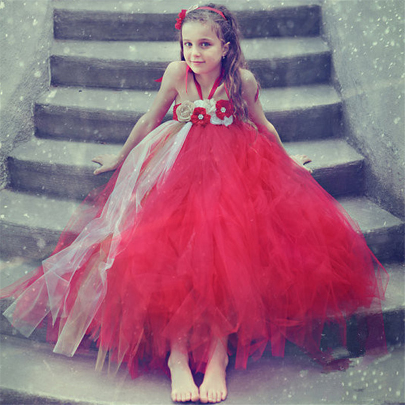 Fishion Cute Girls Tutu Dress Red Gold Flower Girls Dresses with Flower Headband Pearls For Christmas exactly as pic red gold flower wedding girls dresses with shining flower headband pearls christmas party dress for girls pt93