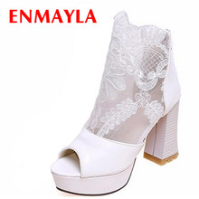 ENMAYER Women Summer Boots New Chunky High Heels Open Toe Lace Uppers Summer Shoes Wedding White Black Platform Ankle Boots