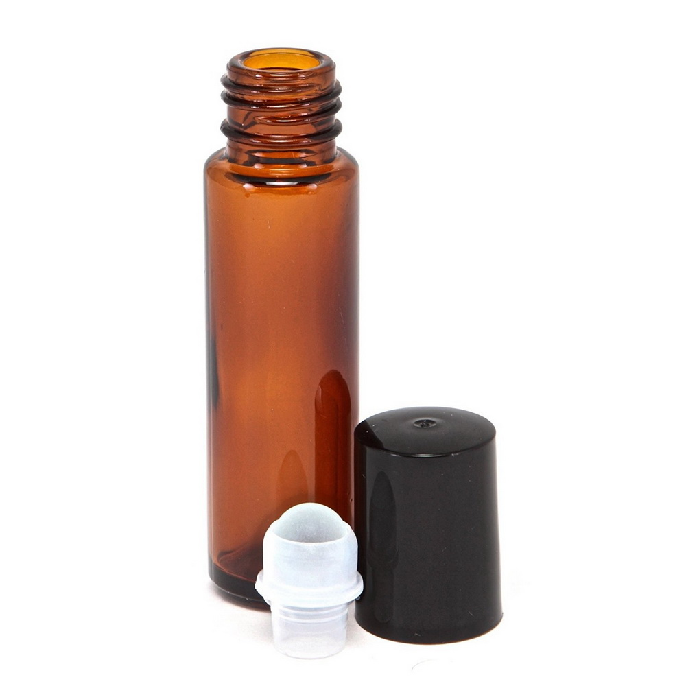 12pcs 10ml Amber Empty Refillable Glass Perfume Roll On Bottle with stainless steel roller ball for essential oil aromatherapy in Refillable Bottles from Beauty Health