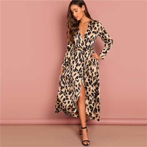 SHEIN Going Out Multicolor Surplice Wrap Satin Leopard Deep V Neck  Half Sleeve Dress Elegant Women Autumn Modern Lady Dresses 5