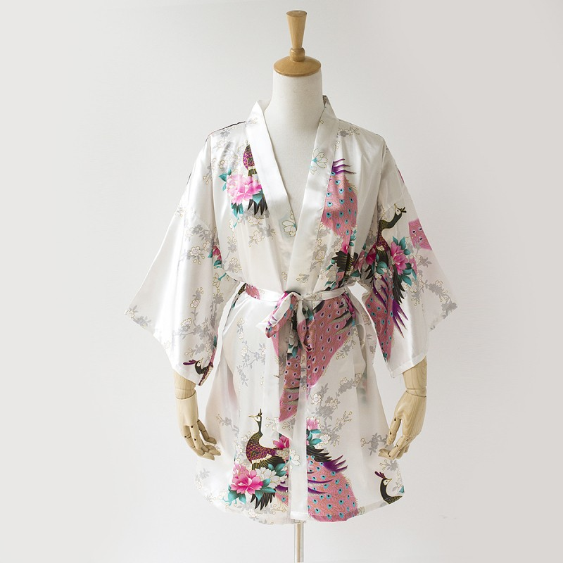 Summer White Lady Faux Silk Kimono Bath Gown Sexy Mini Bridesmaid Wedding Robe Lounge Home Dress Size S M L XL XXL XXXL BR110