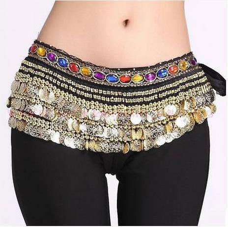Belly Dance Costumes Senior Velvet Colors Stones 338 Gold Coins Belly Dance Belts For Women Belly Dancing Hip Scarf
