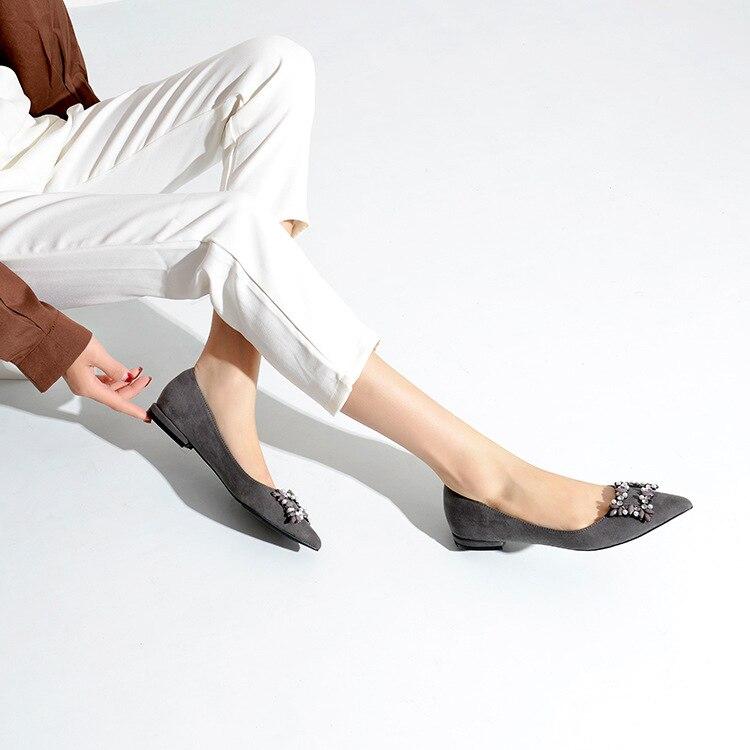 Femme A Donna Nero Fasciatura Calzature Appartamenti Scarpe De Zapatos Signora Dolce grigio Da Elegante Mujer Di Dalla Su Nuovo Rhinestone Chaussures Il Della Arco Punta Silp qSaxStwz