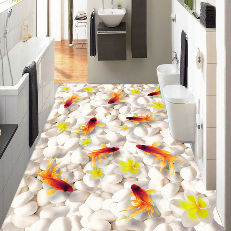 Custom Photo Wallpaper Modern Pebble Goldfish 3D Floor Tiles Murals Kitchen Bathroom Wear Non-slip Waterproof PVC Wall Paper 3 D