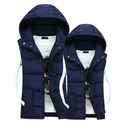 Fashion Men's Winter Vest Men Brand Hooded Vest Male Slim Fit Cotton-Padded Waistcoat Jacket and Coat Warm Vest 3XL 2XL