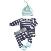 Комплект детской одежды из 3 предметов для маленьких мальчиков и девочек, топы для новорожденных, футболки штаны с длинными рукавами Повседневный комплект одежды с шапочкой