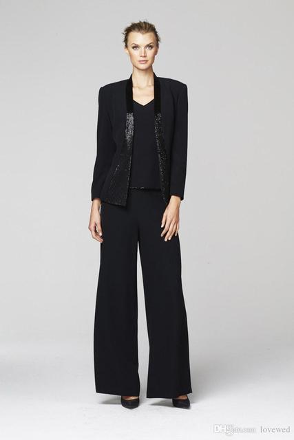 2016 Daymor Couture 248 Mãe da Noiva Calça Terno Preto Chiffon Três Peças com Vestidos de jaqueta de manga longa e tonal talão