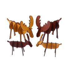 Novelty Christmas Elk Shape DIY Assembled Crafts For Vintage Style Wooden Reindeer Figurines Home Ornaments