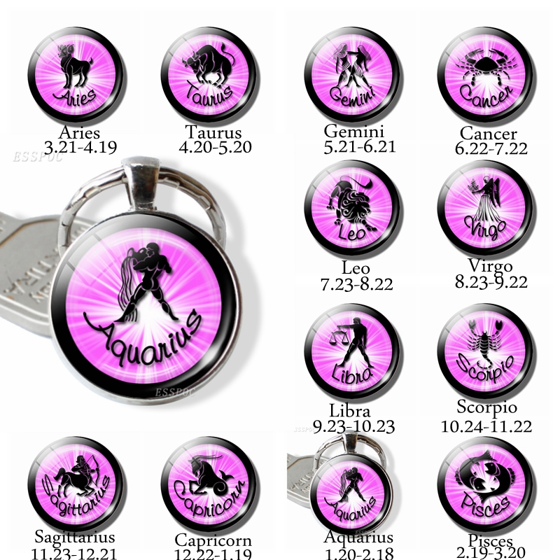 Signs 12 Zodiac Keychains Glass Cabochon 12 Constellation Key Chain Birthday Gifts Horoscope Astrology Galaxy Star Glass Keyring New Varieties Are Introduced One After Another Key Chains