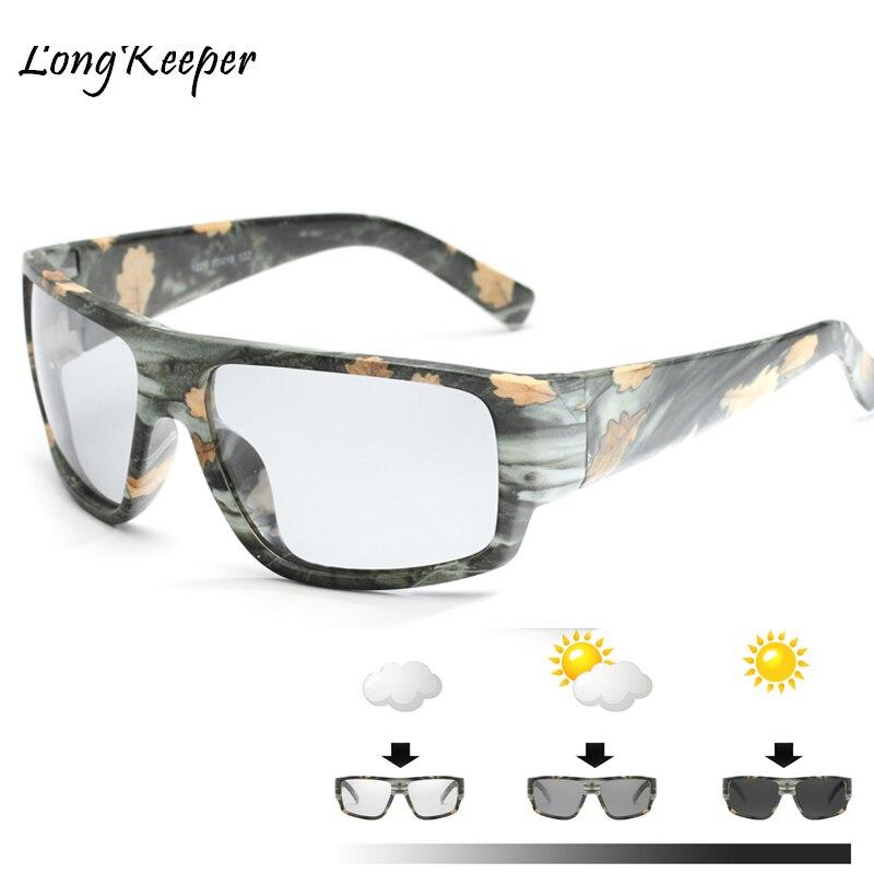 Adaptable 2018 Square Photochromic Sunglasses Men Polarized Chameleon Discoloration Sun Glasses For Men Women Big Frame Men Eyeglasses