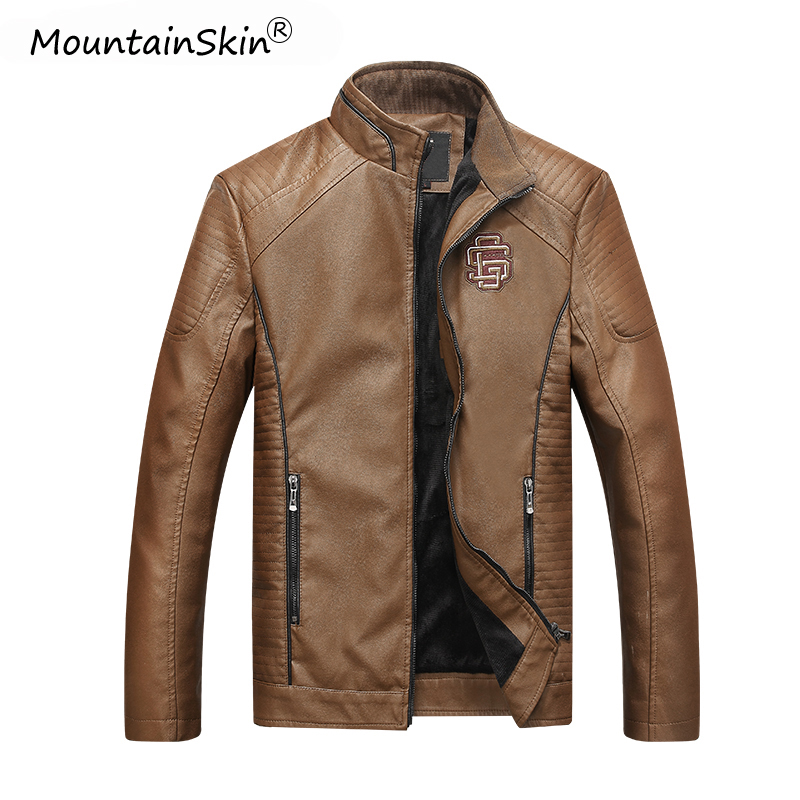Mountainskin Men's Winter Autumn Casual Leather Jacket Fitness Motorcycle Faux Leather Bomber Jacket Male Outerwears LA766