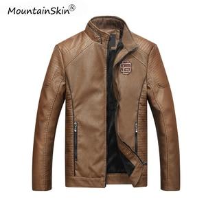 Image 3 - Mountainskin męska zimowa jesień dorywczo skórzana kurtka Fitness motocykl Faux skórzana kurtka Bomber mężczyzna Outerwears LA766