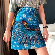 Vogue Ladies Designer Sequins Skirt Women Fashion Sexy Star Zipper Package Hip