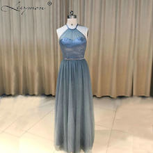 New A-line Dark Gray 3 Styles Halter Tulle Long Bridesmaid Dresses Zipper Back Bridesmaid Dress For Ladies Custom Made(China)
