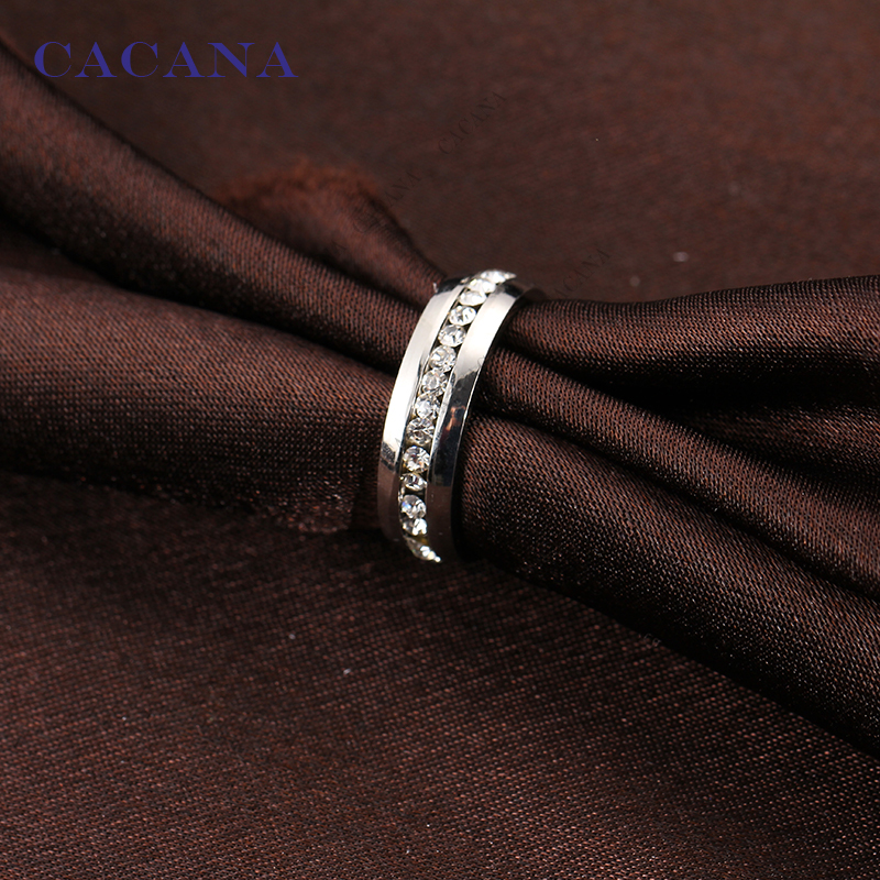 CACANA Titanium Stainless Steel Rings For Women CZ   Fashion Jewelry Wholesale NO.R26