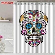 купить WONZOM 3D Skull Shower Curtains with 12 Hooks For Bathroom Decor Modern Halloween Bath Waterproof Curtain Bathroom Accessories дешево