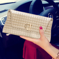 Women Evening Party Clutch Bags New Korean Version Of The D Word Lock High Grade Leather