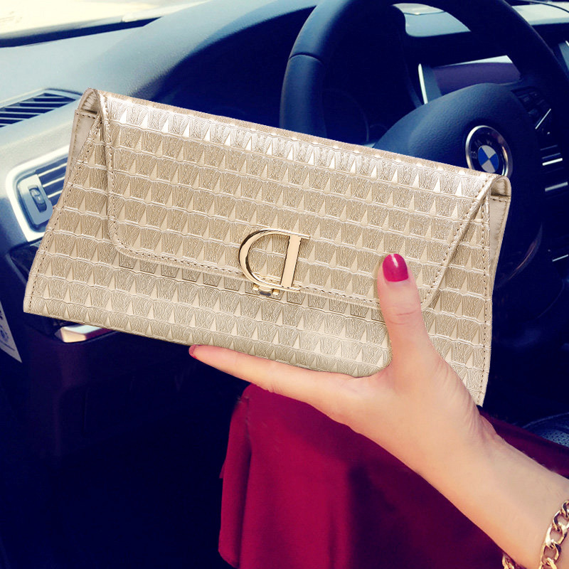 Women Evening Party Clutch Bags New Korean Version Of The D Word Lock High-grade Leather Handbags Ladies Leather Hand Bag japan and south korea in 2016 the new evening bag luxury sequins mesh ladies handbags fashion high grade magnetic buckle bag