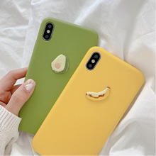 Summer fruit Avocado embroidery case for iphone 7 8 6 6s plus x xs xr xsmax banana scrub soft leather skin cover for iphone case
