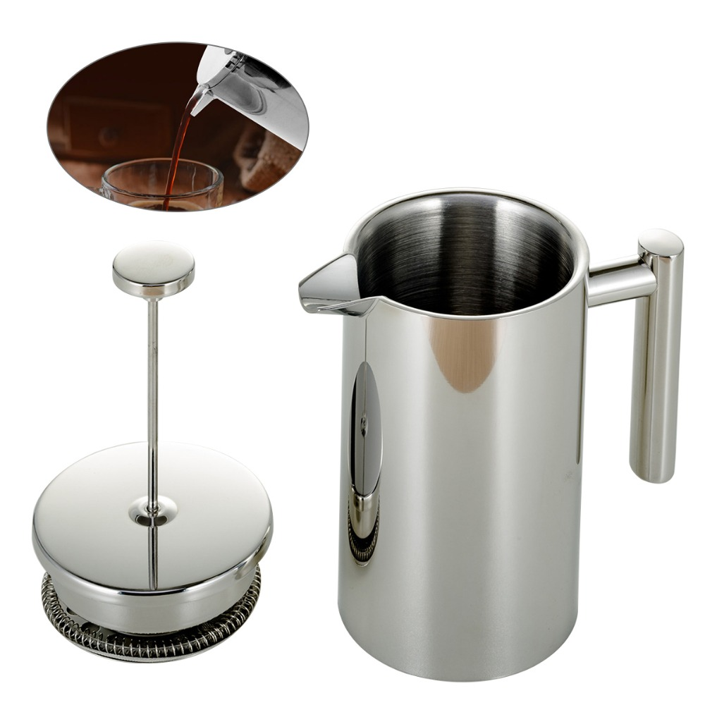 350ml800ml1000ml:  350ml/800ml/1000ml Stainless Steel French Press Coffee Maker Double-layer Coffee Pot French Presses Filter Coffeeware - Martin's & Co