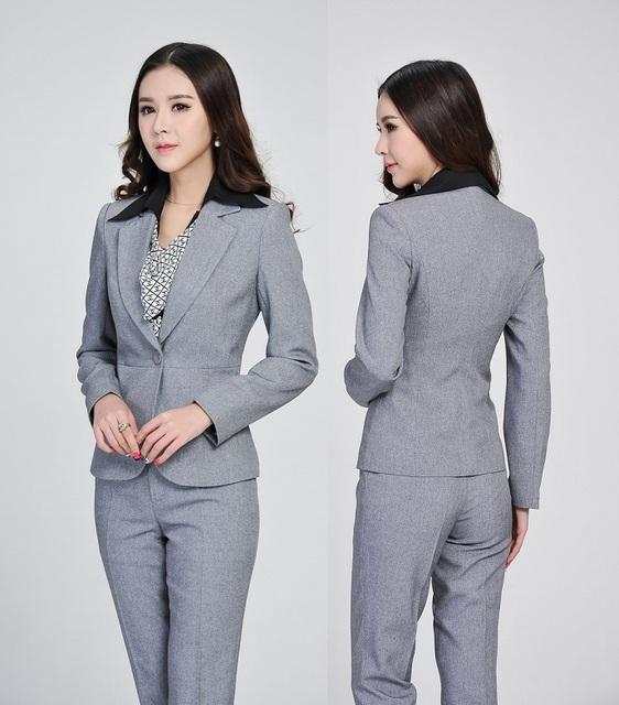 Plus Size Pantsuits Formales Trajes de Negocios de Diseño Uniforme Oficina Trabajo de Las Señoras Se Adapte A Las Mujeres Blazers Chaquetas Y Pantalones Profesional