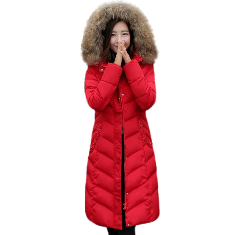 Fashion Winter Long Style Maxi Parka 2016 Slim Thickened Hood Jackets Coats Fur Collar Padded Cotton Outwear Manteau Femme 2017 slim fit fashion mens fur parka mens jackets and coats black blue jaquetas masculina inverno cotton padded parka homme