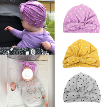 Newborn Baby Turban Hat With Bowknot Beanies Girls Cap For Toddler Princess Candy Colors Kids Infant Accessories 1PC