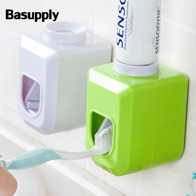 Basupply 1Pc New Hands Free Automatic Squeezer Toothpaste Dispenser Squeeze Out Wall Mount Bathroom Accessories 4 Colors