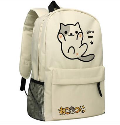 Pusheen Cat   Neko Atsume Backpack For Teenagers Girls Cat Backyard School  Bags Daily Backpack Cartoon School Backpacks Kids Bag-in Backpacks from  Luggage ... 49361ac6dbd24