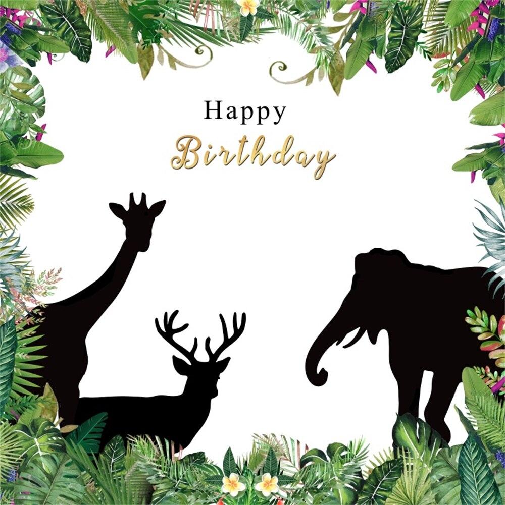 Laeacco Cartoon Jungle Animals Flowers Frame Baby Birthday Party Scene Photography Background Photographic Photo Backdrop Studio