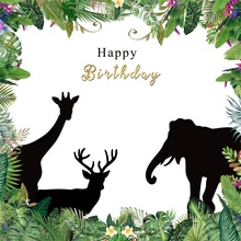 Laeacco Cartoon Jungle Animals Flowers Frame Baby Birthday Party Scene Photography Background Photographic Photo Backdrop Studio