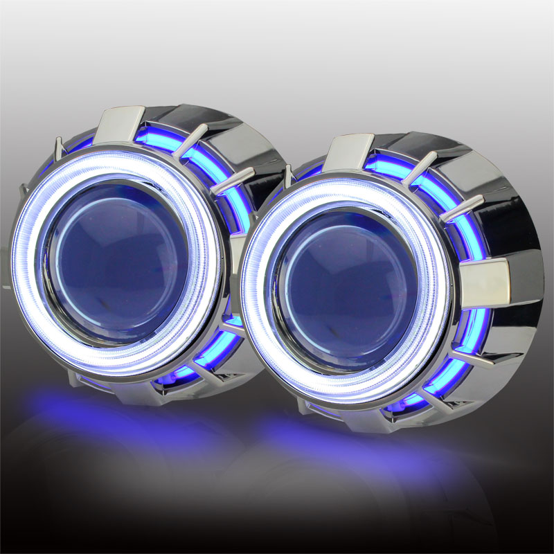 3 inch bi xenon Double angel eyes COB angel no dark areas H1 xenon Bulb Projector Lens Kit with H1 H4 H7 9005 9006  car-styling canton cd 1090 white high gloss пара