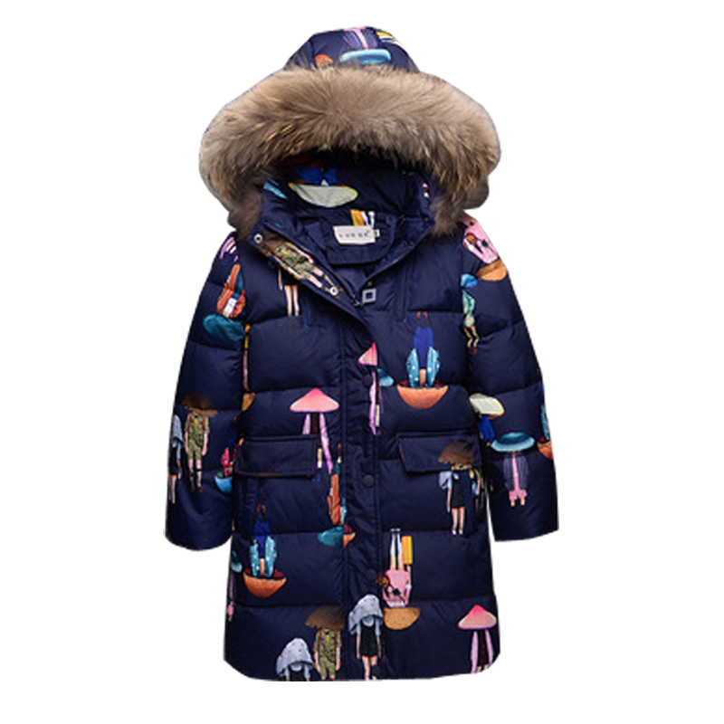 girls winter coat and jacket 2017 fashion big girls outerwear coat with real fur collar cartoon print girls duck down coat DQ582 mioigee girls fashion fur collar winter outerwear hooded thick children girls long duck down jacket coat high quality
