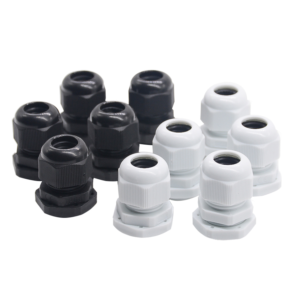 10pcs IP68 PG7 for 3-6.5mm PG9 PG11 PG13.5 PG16 PG19 Wire Cable CE White Black Waterproof Nylon Plastic Cable Gland Connector waterproof black ip68 plastic cable wire connector gland electrical 4 cable junction box with terminal