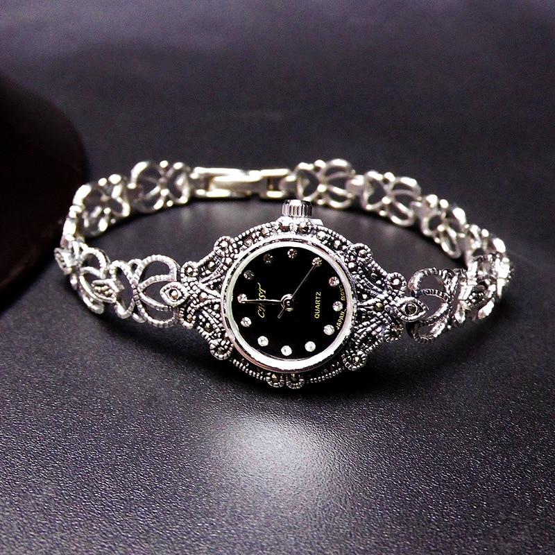 Silver Jewelry S925 Sterling Silver Thai Silver Watch Women's Silver Watch Court Retro Pattern Mark Race Bracelet