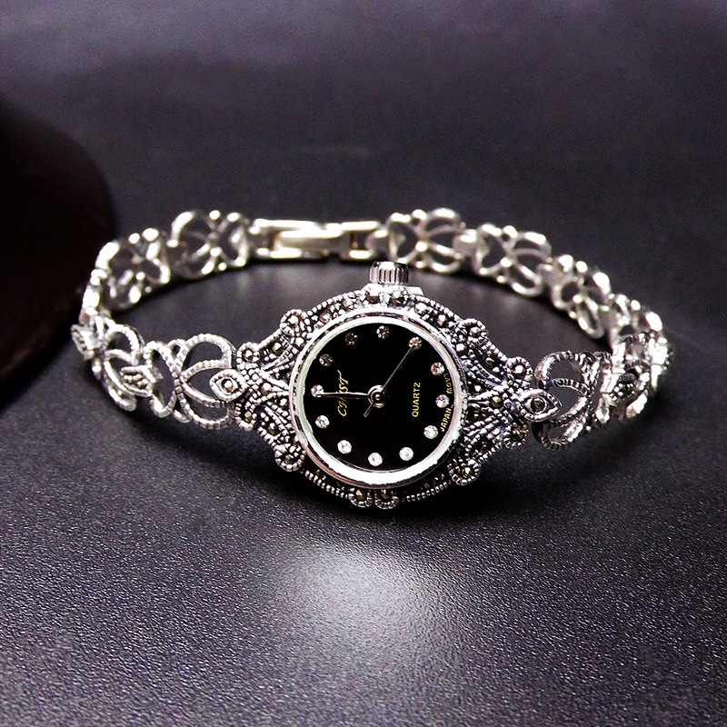 Silver Jewelry S925 Sterling Silver Thai Silver Watch Womens Silver Watch Court Retro Pattern Mark Race BraceletSilver Jewelry S925 Sterling Silver Thai Silver Watch Womens Silver Watch Court Retro Pattern Mark Race Bracelet