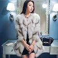 Chaqueta de piel de Invierno real de piel de zorro de lujo Completa Pelt longitud de la capa de la alta calidad 70 cm de tres cuartos de piel natural abrigos