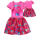 Trolls Kids Dress Summer Short-sleeved Dress party Stitching Girl Party Dresses Teenage Clothes Clothes For Children 4-10 Years