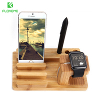 FLOVEME Multi Function Natural Bamboo Wood Station Charging Dock Cradle Stand Universal Holder For IPhone 6