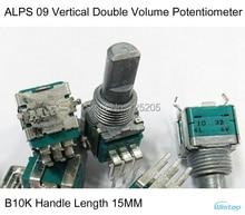 Volumen Potentiometer B10K Japanischen original ALPS 09 Vertikale Doppel mit Mittelpunkt Griff Länge 15 MM HIFI DIY Freies Verschiffen