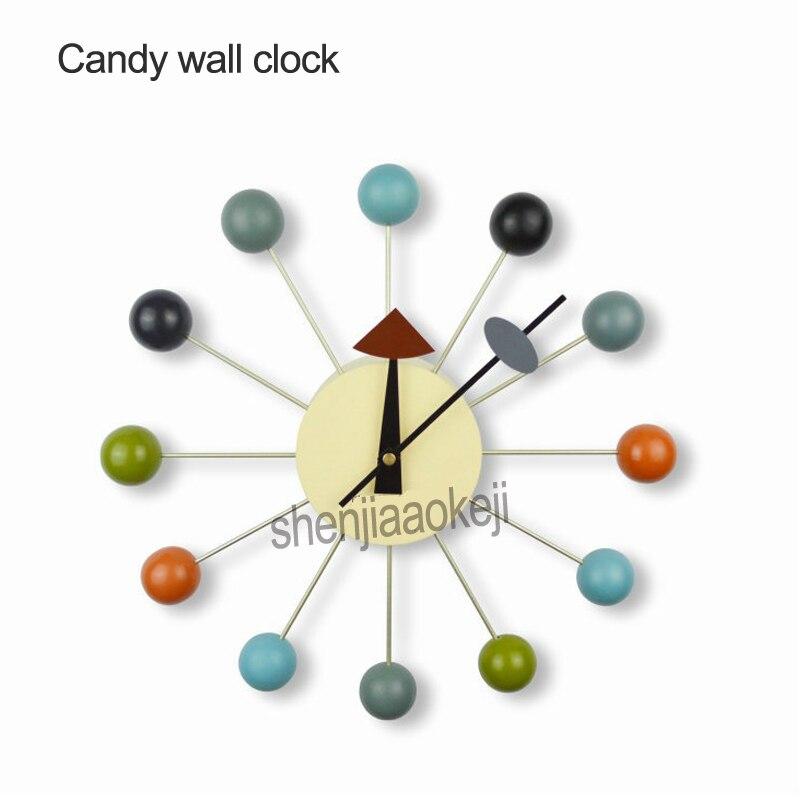 Horloge murale Simple couleur bonbon moderne de luxe maison décorative bricolage boules en bois horloges murales accessoires de maison horloge