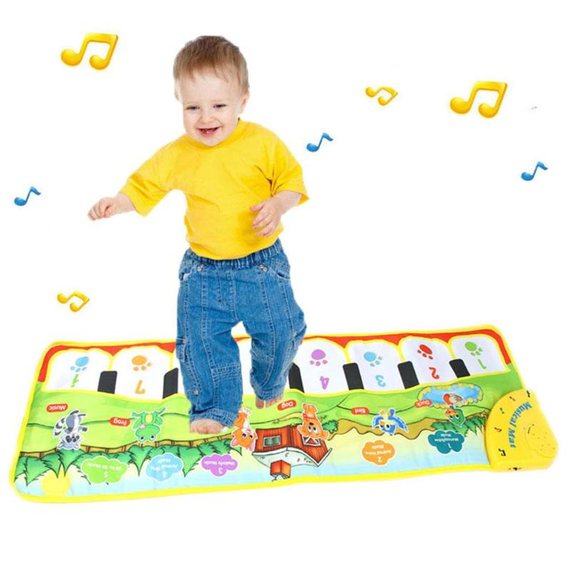 New Baby Piano Mat Newborn Kid Children Touch Play Game Musical Carpet Animal Blanket Rug Cartoon Colorful Toys Gift 90* 28cm