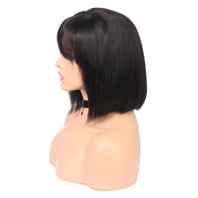 Lace Front Short Bob Wig 13*4 Peruvian Human Hair Wigs With Bangs Remy Baby Hair Full End For Women Straight Natural Black Hair