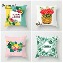 Fuwatacchi Tropical Plants Palm Leaf Green Leaves Pineapple Cushion Covers Hibiscus Flower Cushion Cover Decorative Pillow Case цена 2017