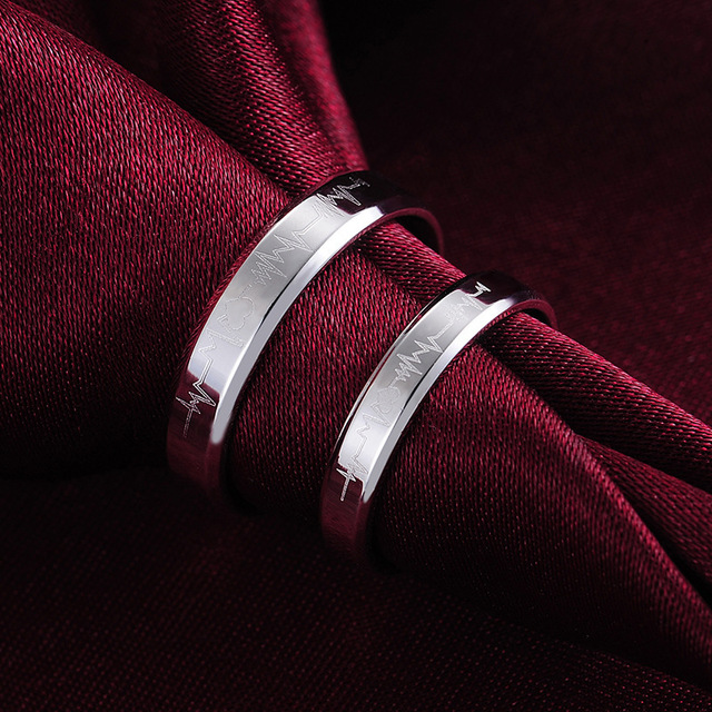 Hign Quality Mens Womens 925 Sterling Silver Novelty Design Love Wedding Band Rings His Her Promise ring 1pc