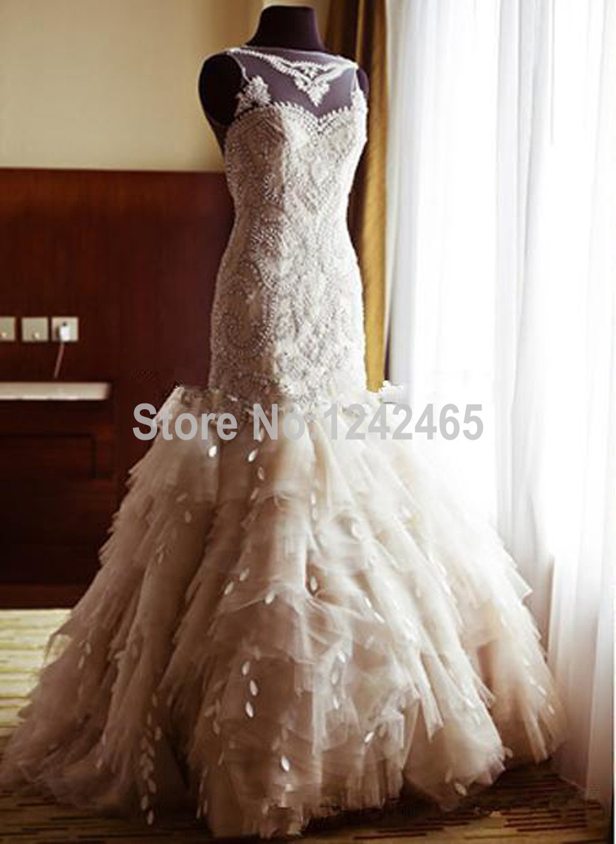 Expensive top quality abiti da sposa appliqued sleeveless for Aliexpress mermaid wedding dresses