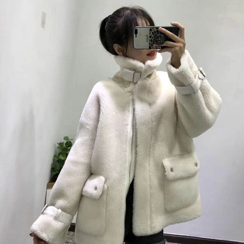 wool blends sheep fur coat women winter2019 plus size abrigo mujer korean parka real price jacket Moto & Biker style fur clothes