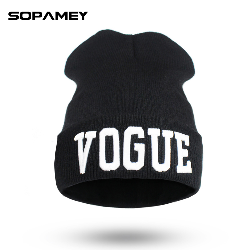2017Brand Letters Embroidery VOGUE Couple Cap Skullies Beanies Winter Warm Hat Braided Soft Knitx Men And Women Hedging Cap New gl brand vogue 3colors jf0017